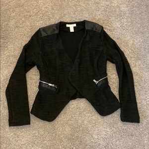 Knit blazer with zipper and leather accents